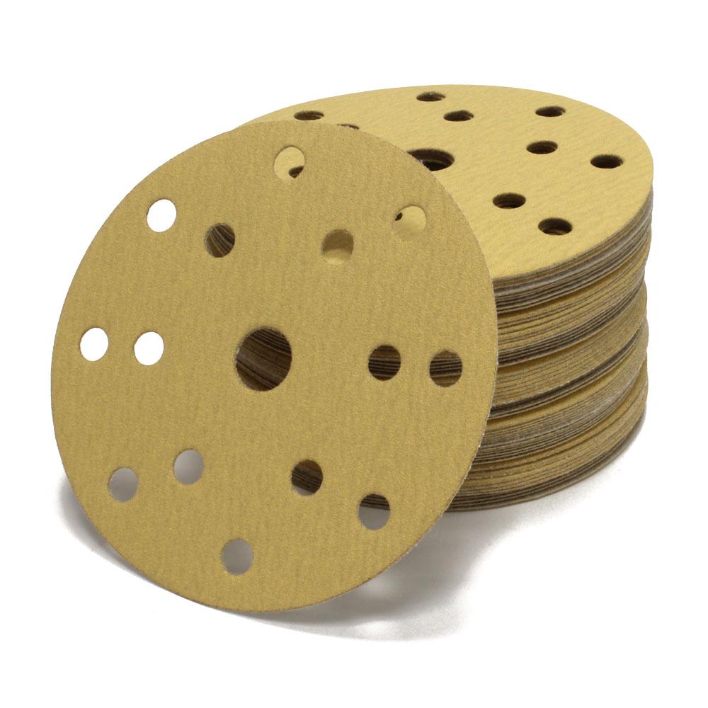 50 Stück Schleif scheiben 150 mm Exzenter 15 Loch Schleif papier P400 gold Klett