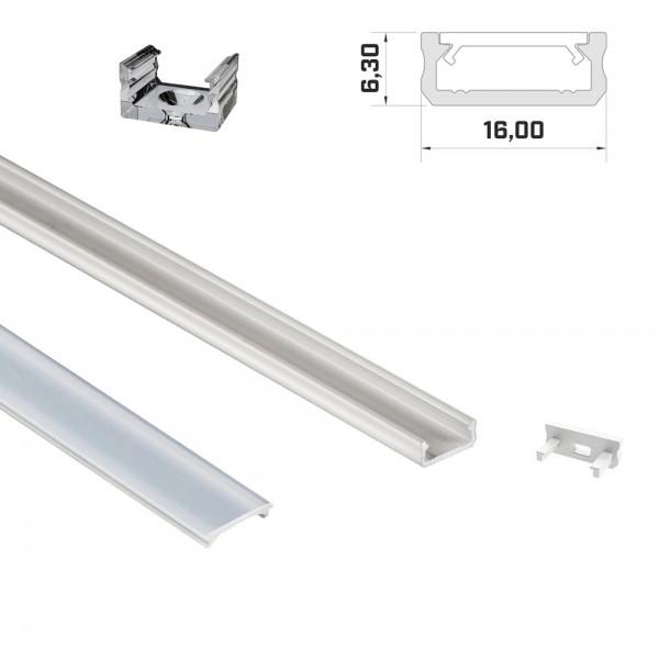 LED-Flachprofil 1m weiß mit Abdeckung & Endkappen
