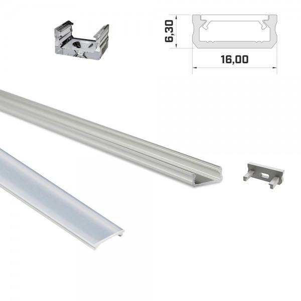LED-Flachprofil 1m silber mit Abdeckung & Endkappen