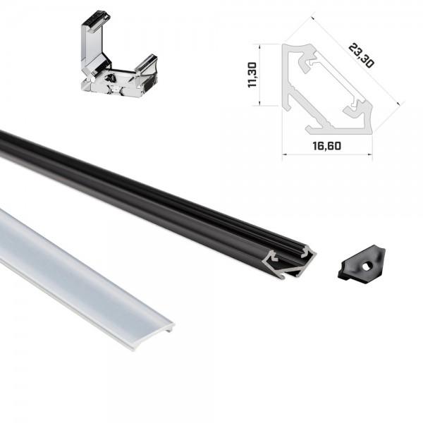 LED-Eckprofil 1m schwarz mit Abdeckung & Endkappen