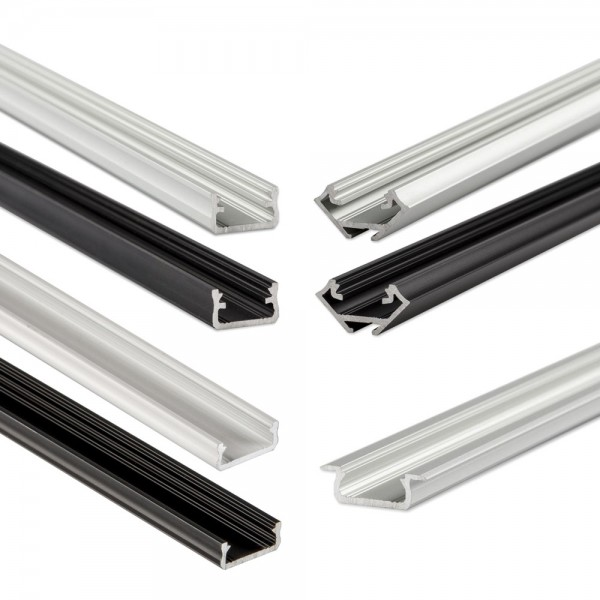 LED-Eckprofil 1m weiß mit Abdeckung & Endkappen