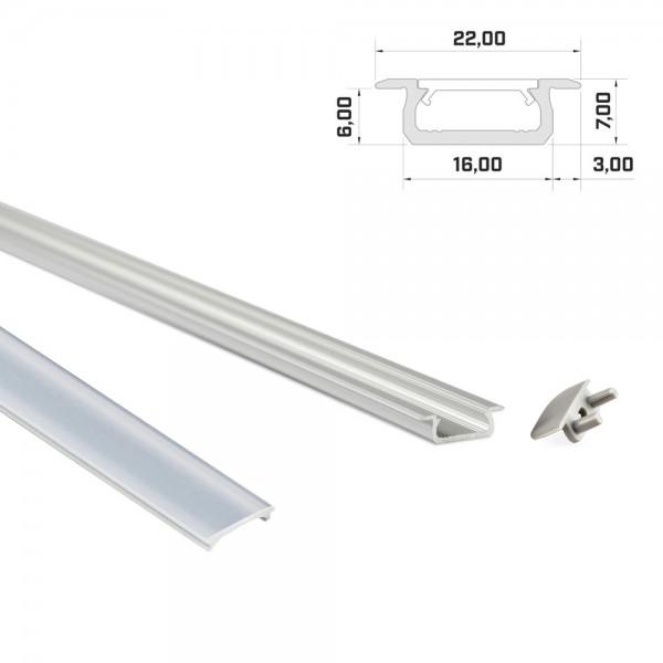 LED-Einbauprofil 1m silber mit Abdeckung & Endkappen