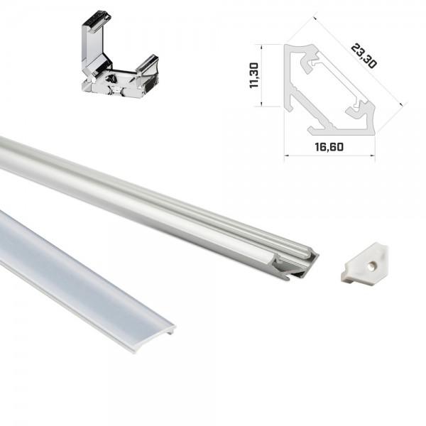 LED-Eckprofil 1m silber mit Abdeckung & Endkappen