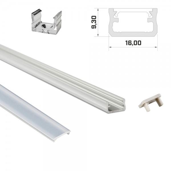 LED-Profil 1m silber mit Abdeckung & Endkappen