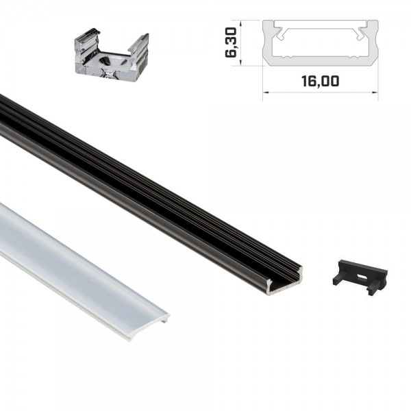 LED-Flachprofil 1m schwarz mit Abdeckung & Endkappen