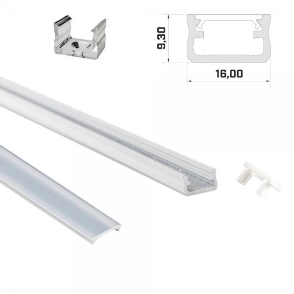 LED-Profil 1m weiß mit Abdeckung & Endkappen