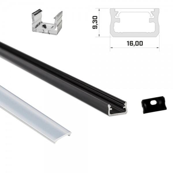 LED-Profil 1m schwarz mit Abdeckung & Endkappen