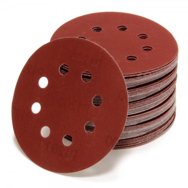 Set 50x Schleifscheiben Ø 125 mm Rot 8 Loch